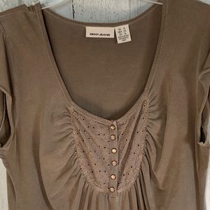 DKNY Snap Front Lace Scoop Neck Light Brow…